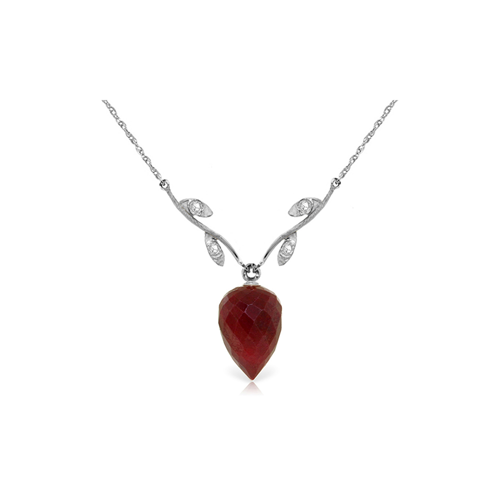 Genuine 13.02 ctw Ruby & Diamond Necklace Jewelry 14KT White Gold - REF-42W2Y