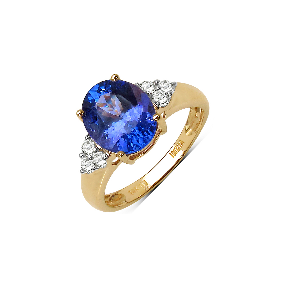 2.52 CTW Tanzanite & 0.18 CTW Diamond Ring 14K Yellow Gold - REF-116N8U