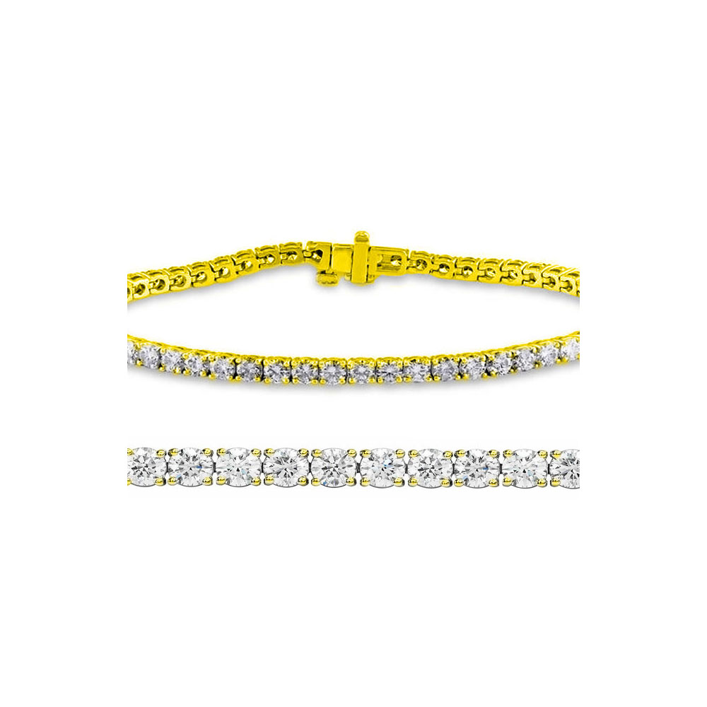 Lot 3141: Natural 3ct VS-SI Diamond Tennis Bracelet 14K Yellow Gold - REF-200M3F
