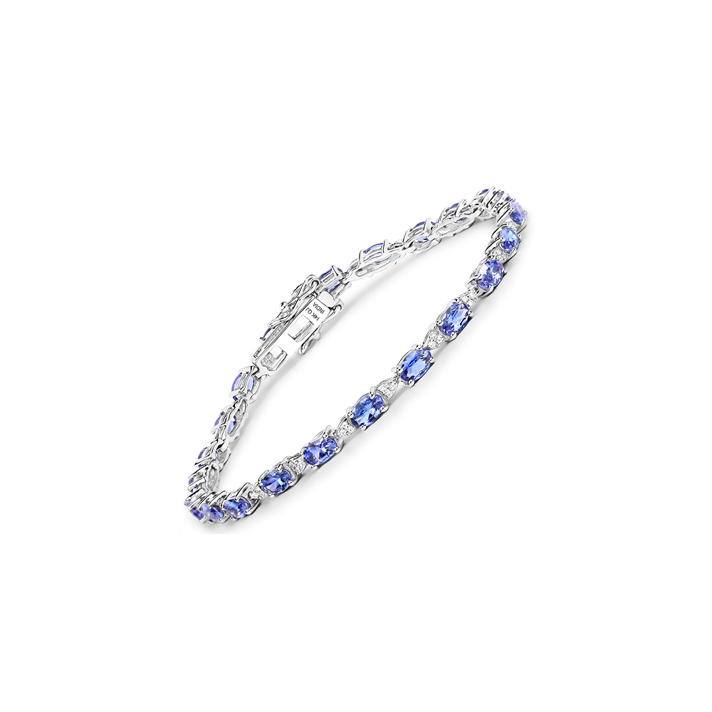 Lot 3150: 5.70 CTW Tanzanite & Diamond Bracelet Bracelet 14K White Gold - REF-123F2N