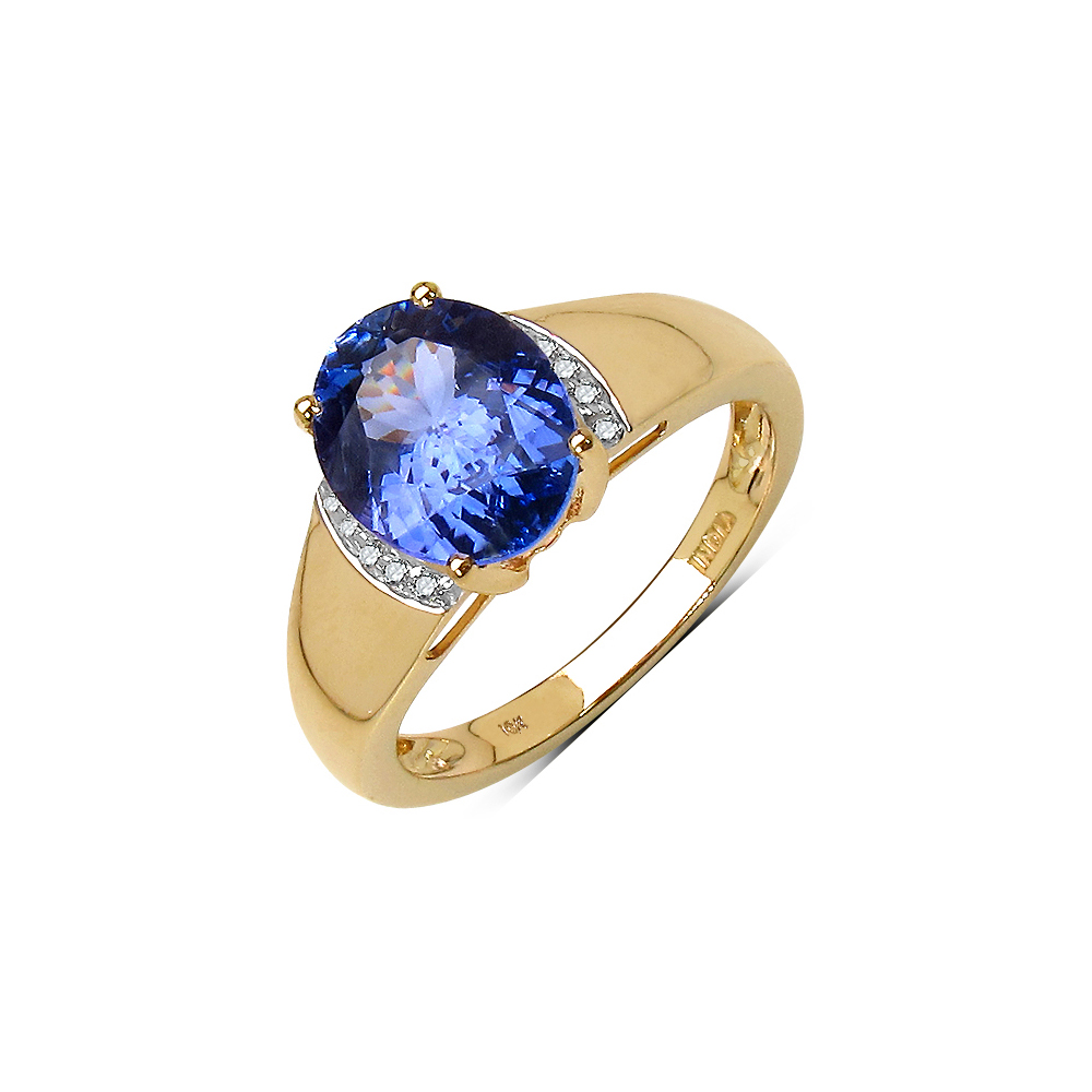 2.54 CTW Tanzanite & 0.06 CTW Diamond Ring 10K Yellow Gold - REF-108U2X