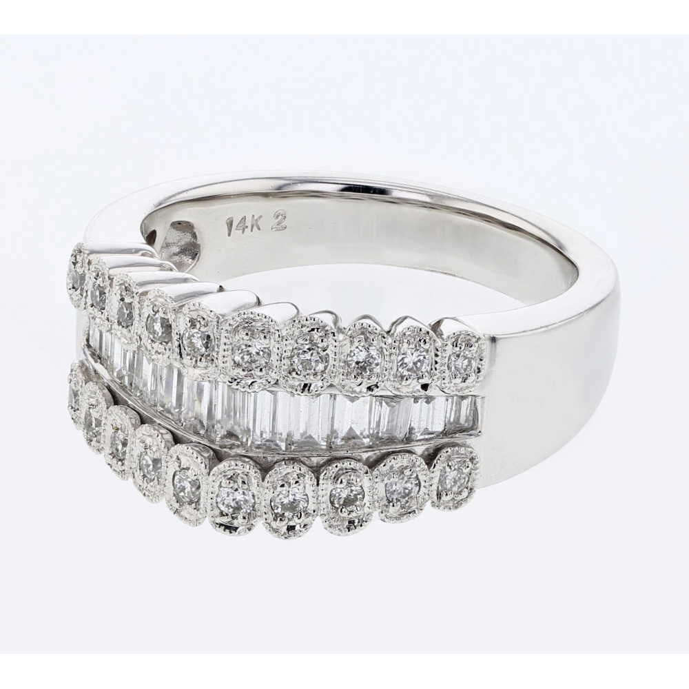 Natural 0.91 CTW Diamond Ring 18K White Gold - REF-137X4R