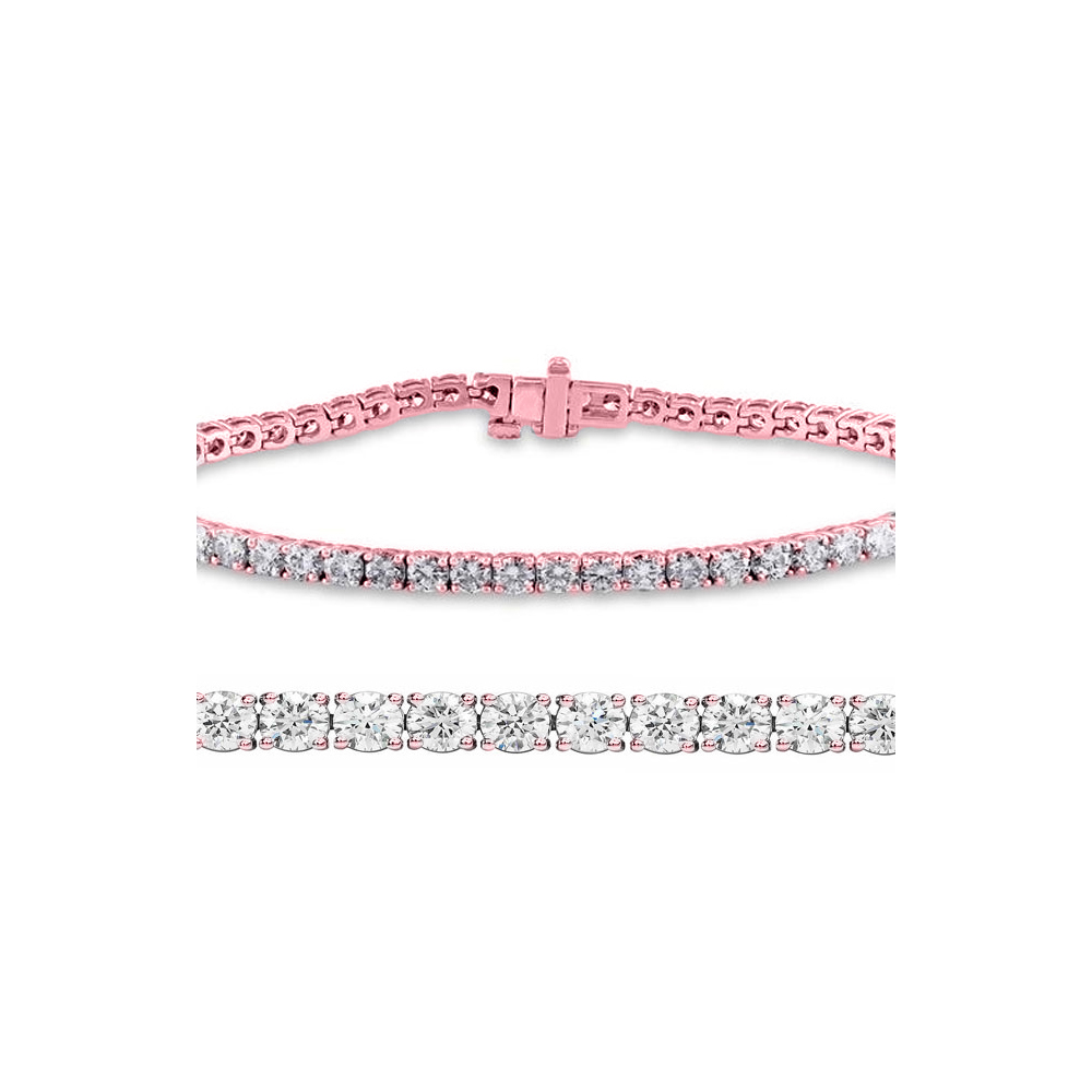 Natural 3.03ct VS-SI Diamond Tennis Bracelet 18K Rose Gold - REF-246M6X