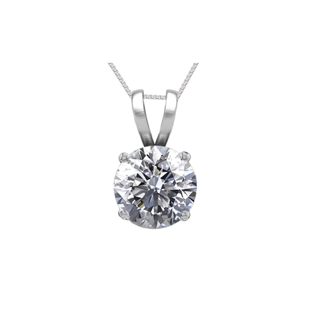 Lot 3183: 14K White Gold 0.54 ct Natural Diamond Solitaire Necklace - REF-115N5H-WJ13280