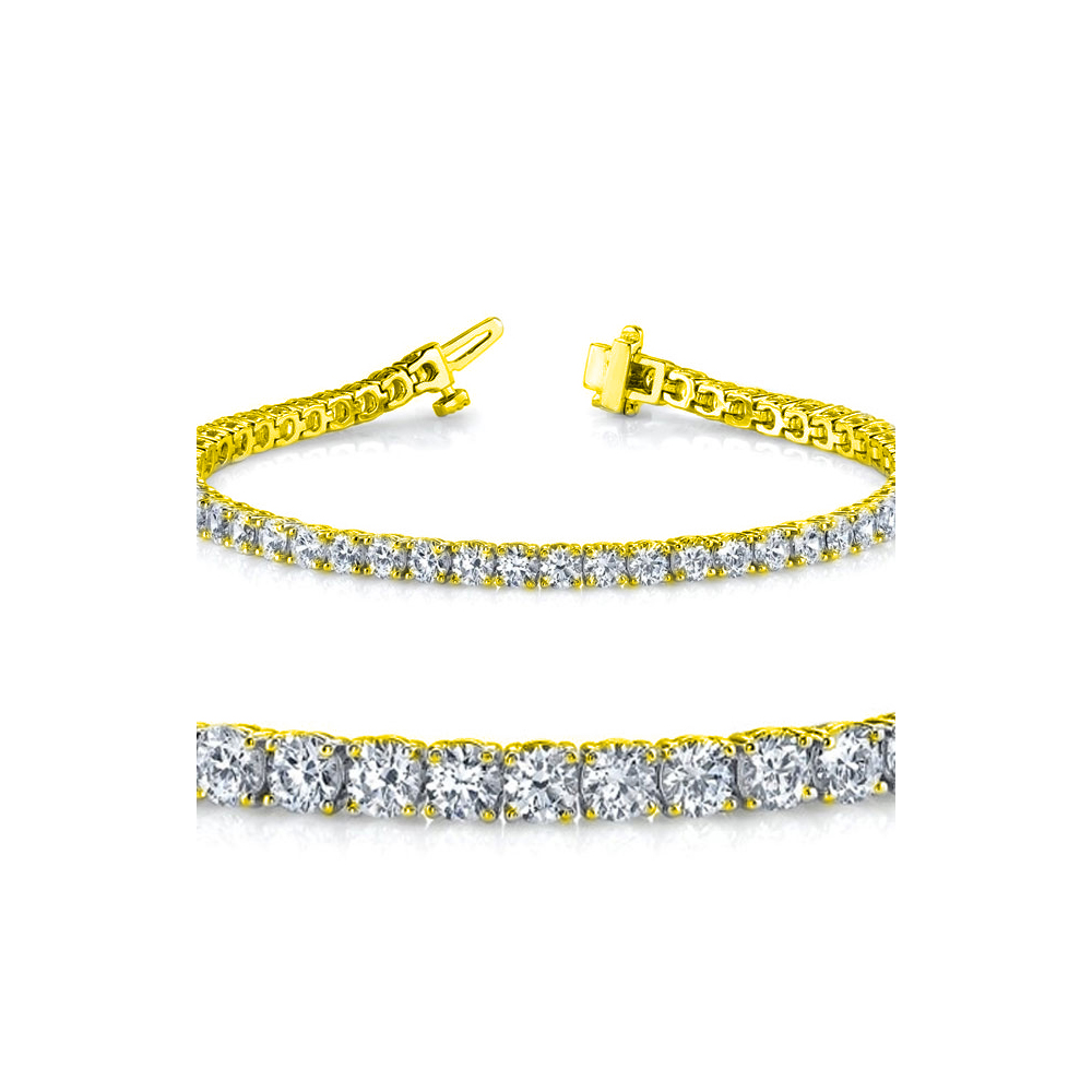 Lot 3185: Natural 4ct VS-SI Diamond Tennis Bracelet 18K Yellow Gold - REF-348F3W