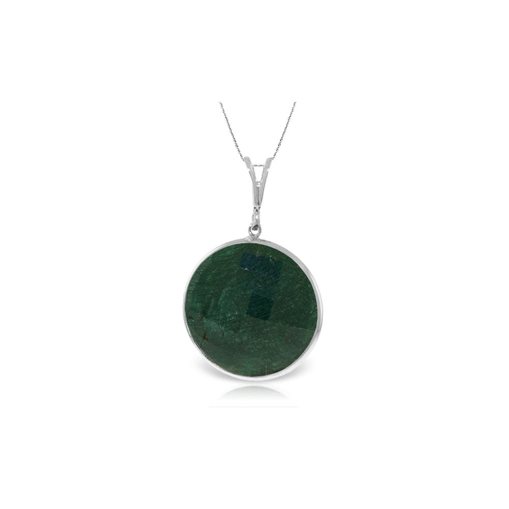 Genuine 23 ctw Green Sapphire Corundum Necklace Jewelry 14KT White Gold - REF-48K3V