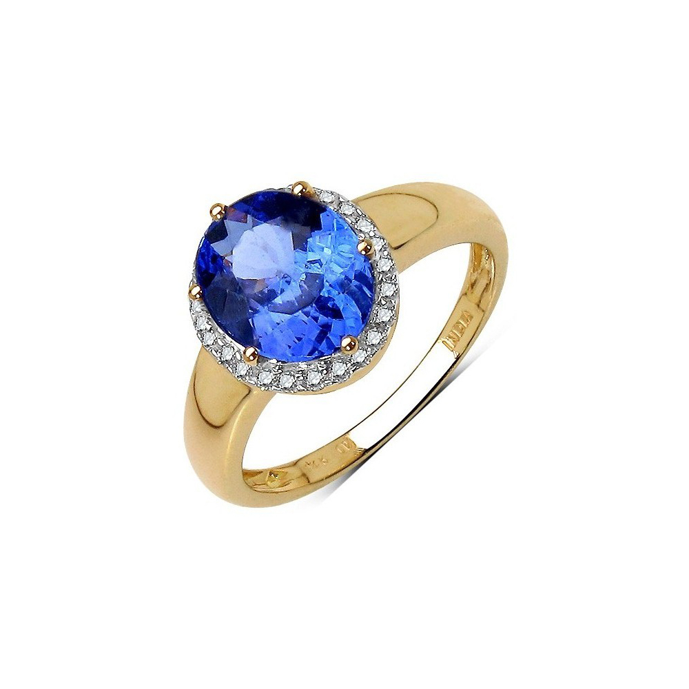 2.55 CTW Tanzanite & 0.15 CTW Diamond Ring 14K Yellow Gold - REF-118X2R