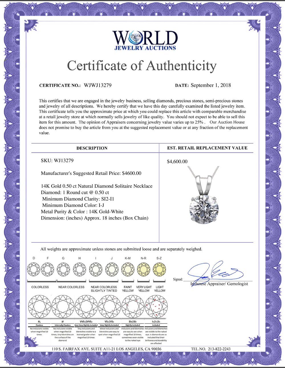 Lot 3005: 14K White Gold 0.50 ct Natural Diamond Solitaire Necklace - REF-115K5Y-WJ13279