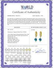Lot 3018: Genuine 3.28 ctw Blue Topaz & Diamond Earrings Jewelry 14KT Yellow Gold - REF-55N3R