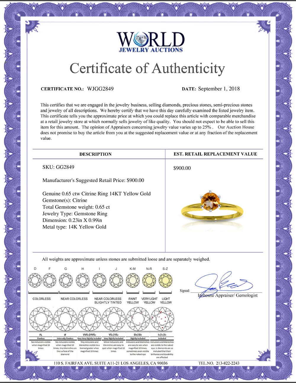 Lot 3024: Genuine 0.65 ctw Citrine Ring Jewelry 14KT Yellow Gold - REF-26V9W