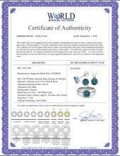 Lot 3029: 14K White Gold SET 3.0CTW Blue Diamond Ring, Earrings, Necklace - REF-569X8F-WJ13346