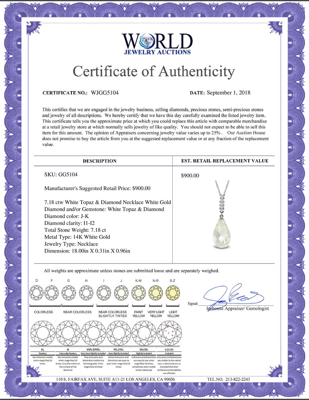 Lot 3037: Genuine 7.18 ctw White Topaz & Diamond Necklace Jewelry 14KT White Gold - REF-29K2V