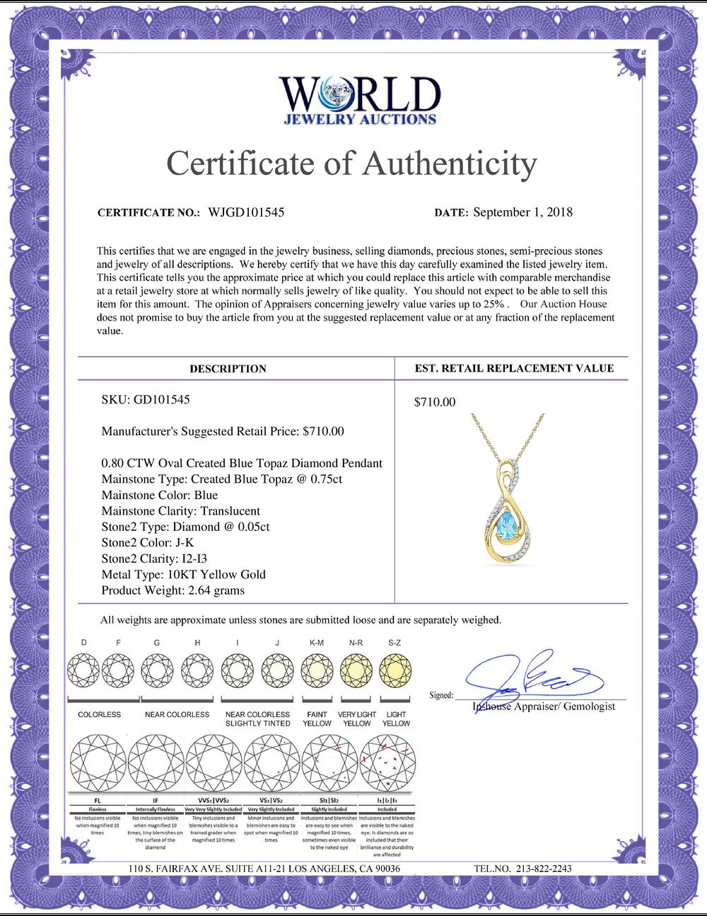 Lot 3044: 0.80 CTW Oval Created Blue Topaz Solitaire Diamond Teardrop Pendant 10KT Yellow Gold - REF-18M2H
