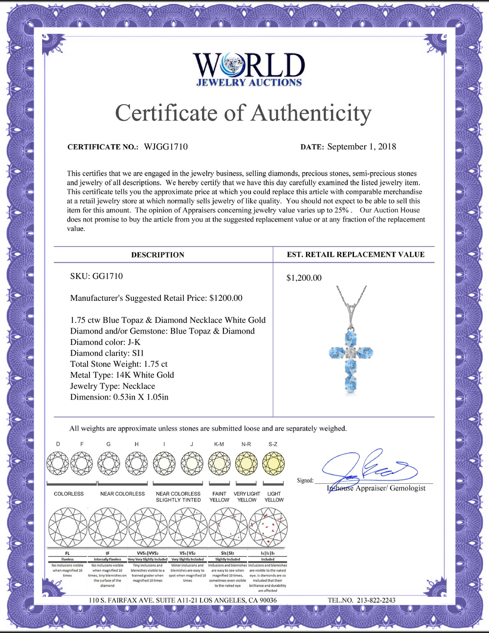 Lot 3047: Genuine 1.75 ctw Blue Topaz & Diamond Necklace Jewelry 14KT White Gold - REF-39F8Z