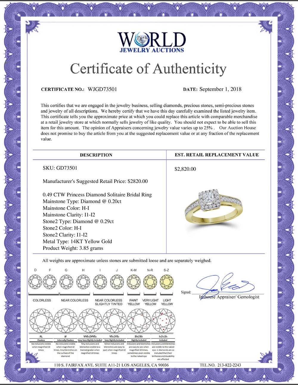 Lot 3049: 0.49 CTW Princess Diamond Solitaire Bridal Engagement Ring 14KT Yellow Gold - REF-71H9M