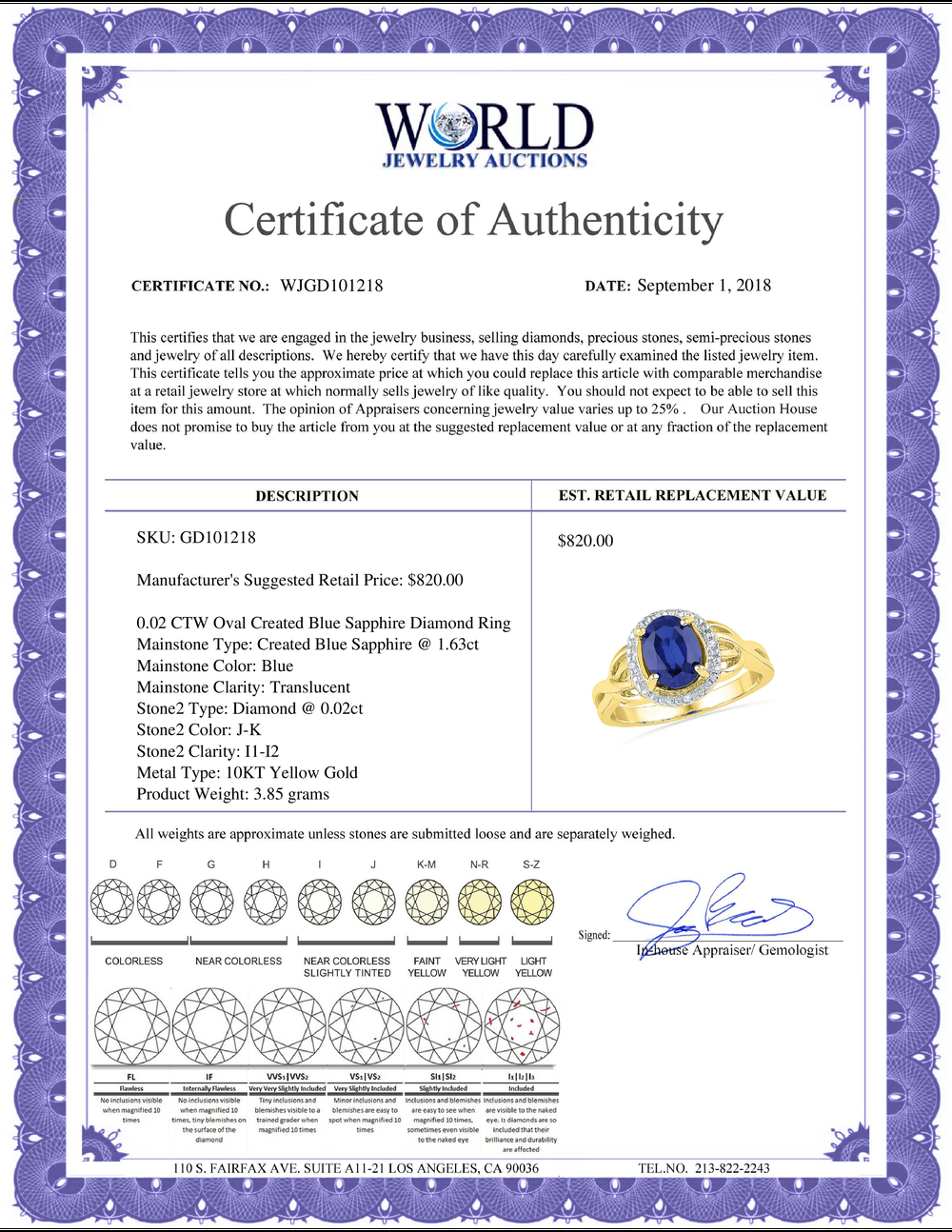Lot 3055: 0.02 CTW Oval Created Blue Sapphire Solitaire Diamond Ring 10KT Yellow Gold - REF-20W9K