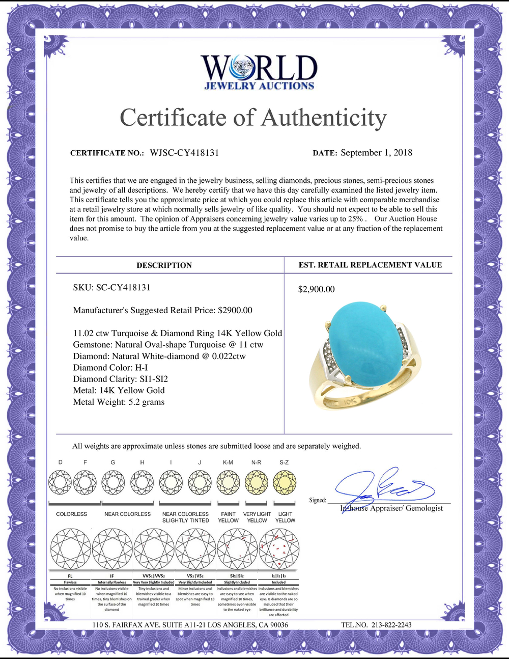 Lot 3056: Natural 11.02 ctw Turquoise & Diamond Engagement Ring 14K Yellow Gold - REF-94M5H