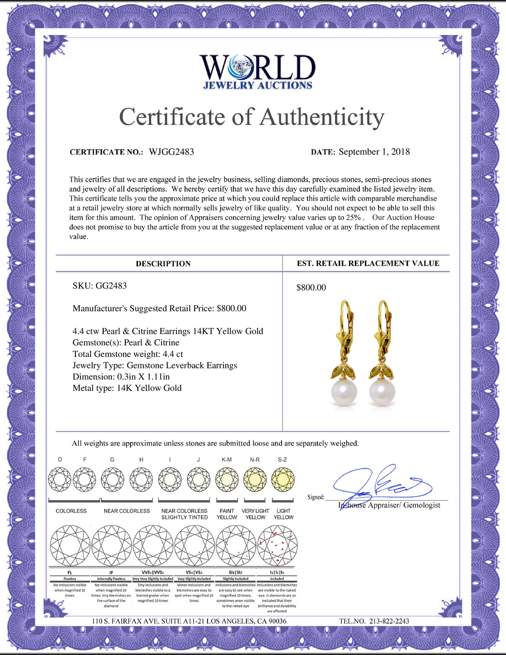 Lot 3062: Genuine 4.4 ctw Pearl & Citrine Earrings Jewelry 14KT Yellow Gold - REF-25H3X