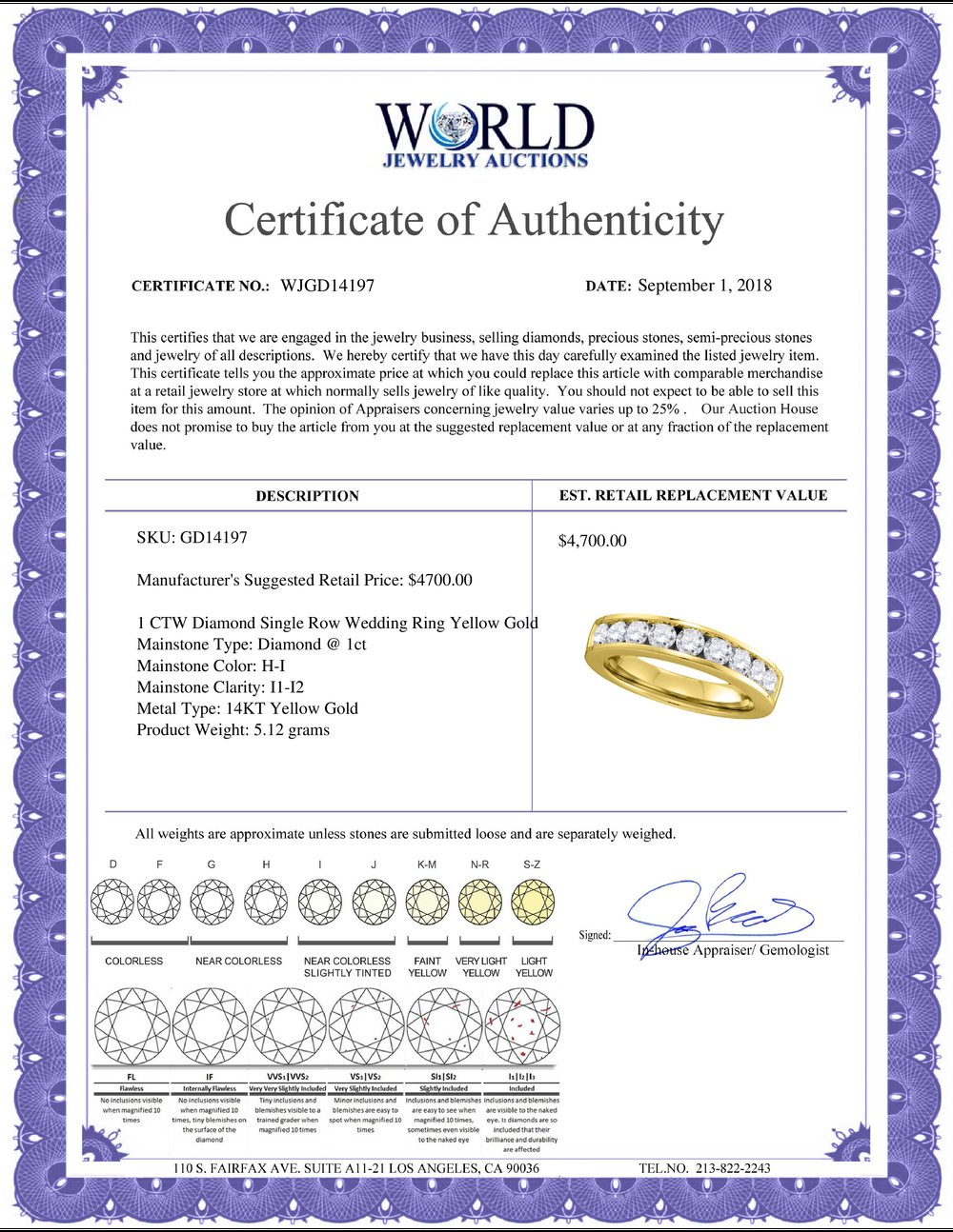 Lot 3063: 1 CTW Diamond Single Row Wedding Ring 14KT Yellow Gold - REF-119H9M