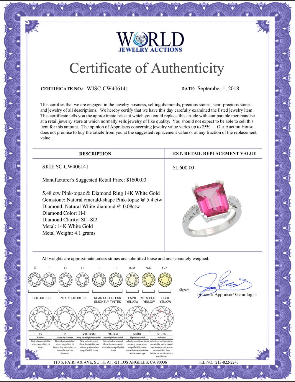 Lot 3069: Natural 5.48 ctw Pink-topaz & Diamond Engagement Ring 14K White Gold - REF-51A4V