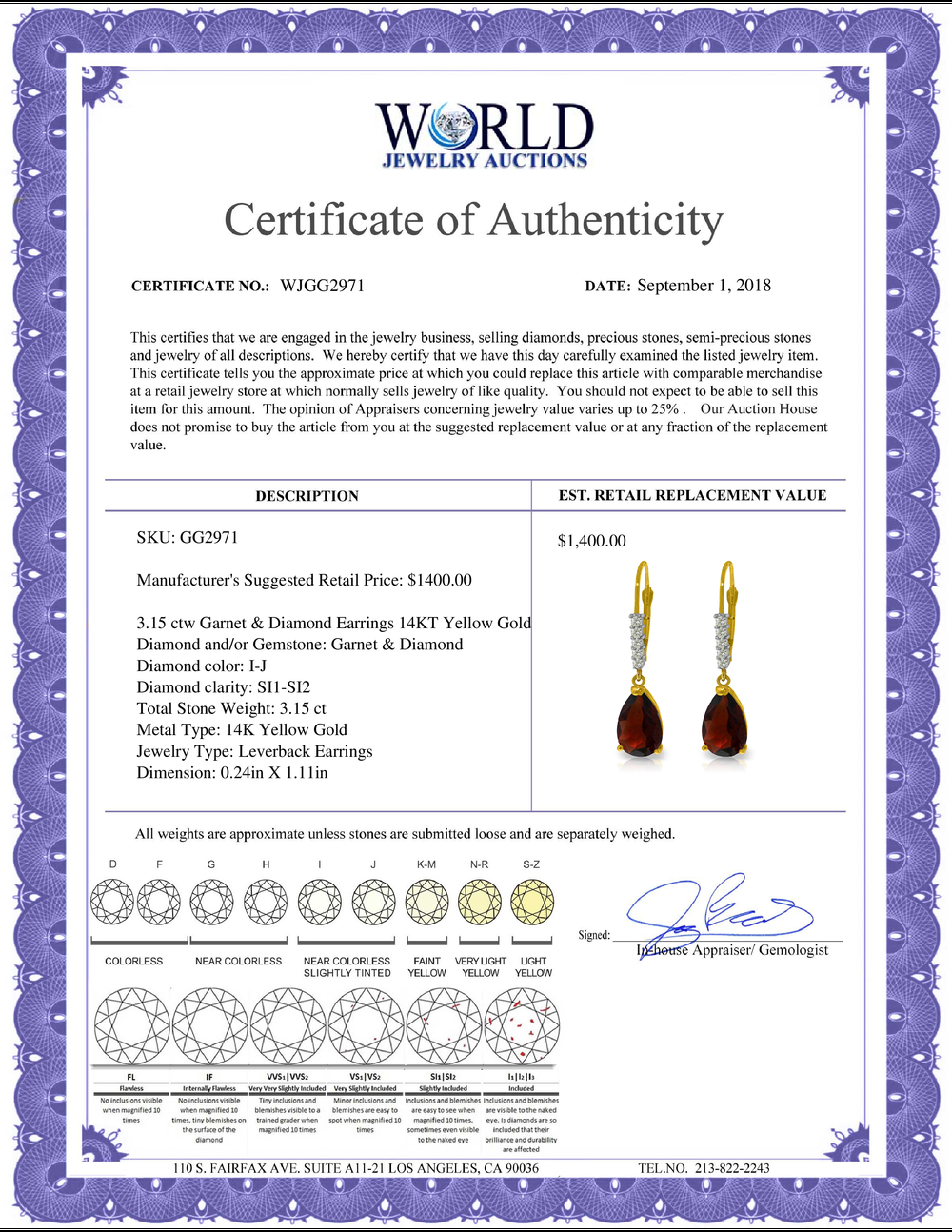 Lot 3073: Genuine 3.15 ctw Garnet & Diamond Earrings Jewelry 14KT Yellow Gold - REF-44H3X