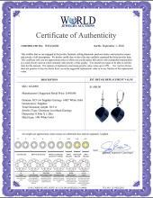 Lot 3081: Genuine 30.5 ctw Sapphire Earrings Jewelry 14KT White Gold - REF-44M4T