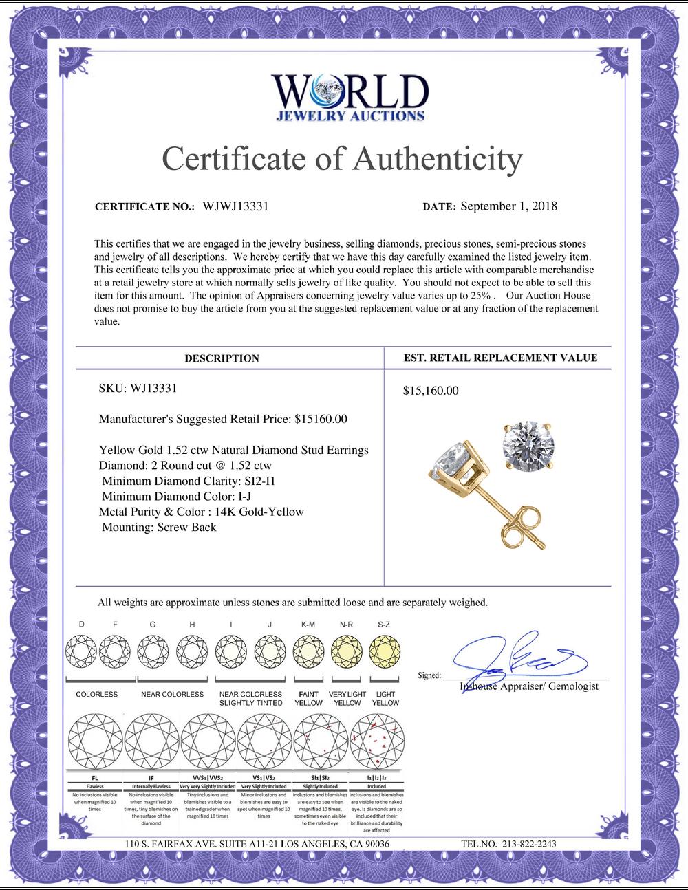 Lot 3087: 14K Yellow Gold 1.52 ctw Natural Diamond Stud Earrings - REF-394V9G-WJ13331