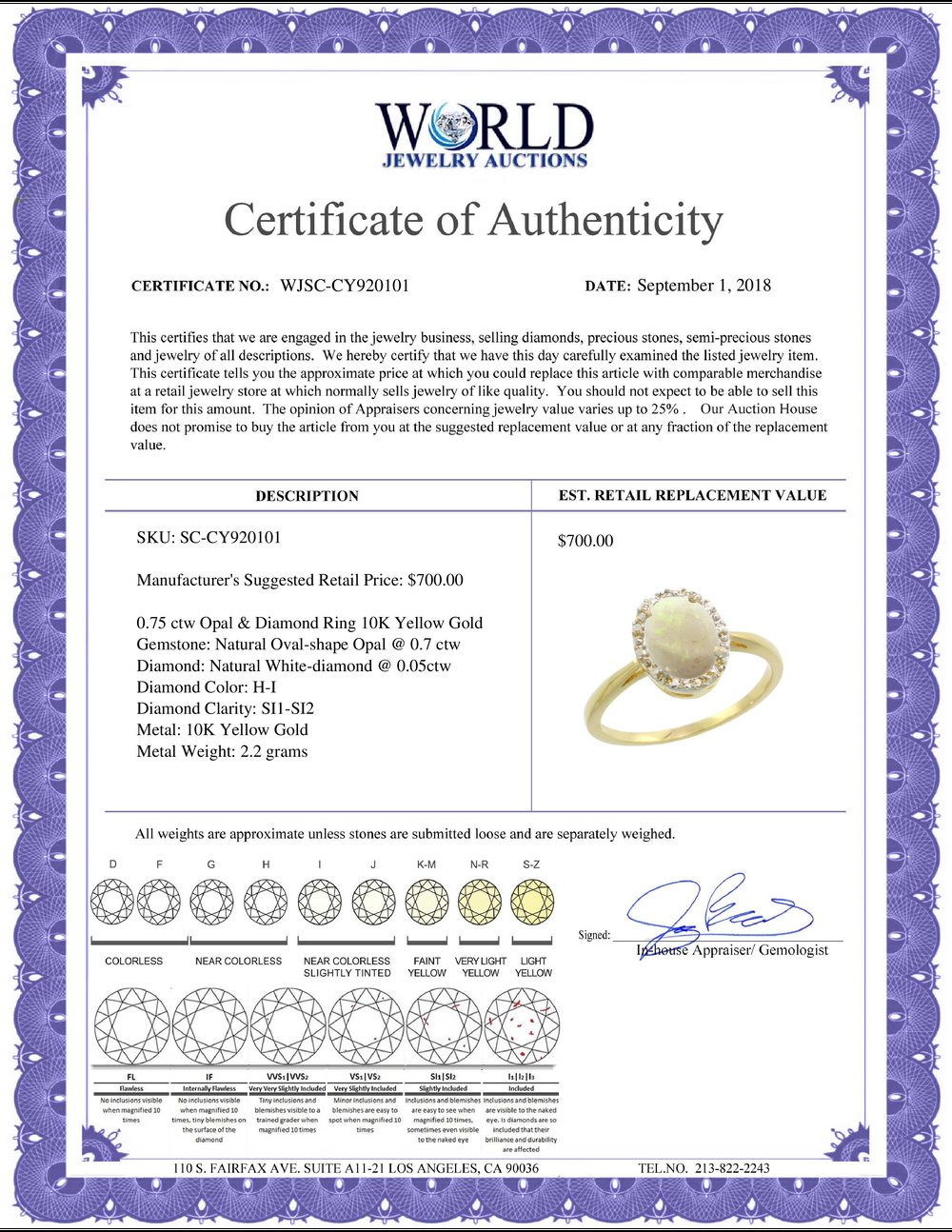 Lot 3098: Natural 0.75 ctw Opal & Diamond Engagement Ring 10K Yellow Gold - REF-20Z2Y