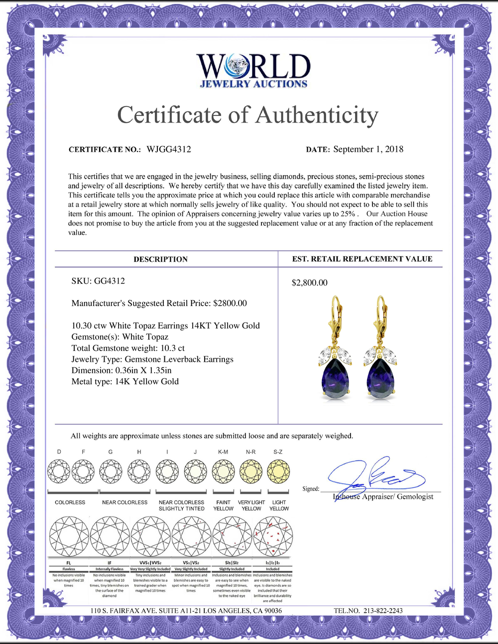 Lot 3099: Genuine 10.30 ctw White Topaz Earrings Jewelry 14KT Yellow Gold - REF-92A6K