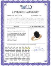 Lot 3108: Natural 5.53 ctw Onyx & Diamond Engagement Ring 10K Yellow Gold - REF-38G2M