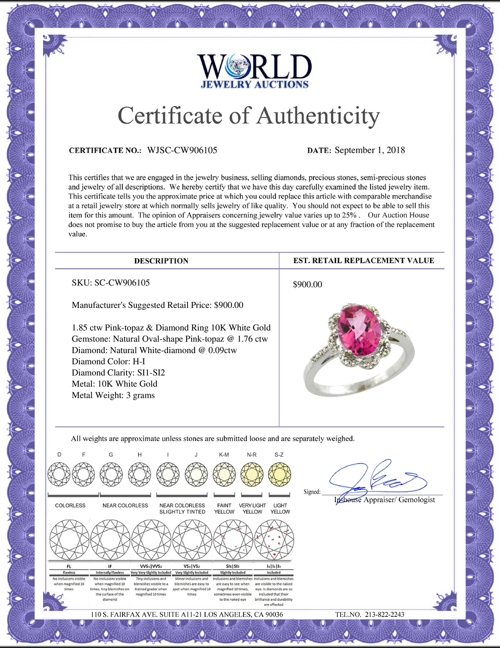 Lot 3120: Natural 1.85 ctw Pink-topaz & Diamond Engagement Ring 10K White Gold - REF-29K3R