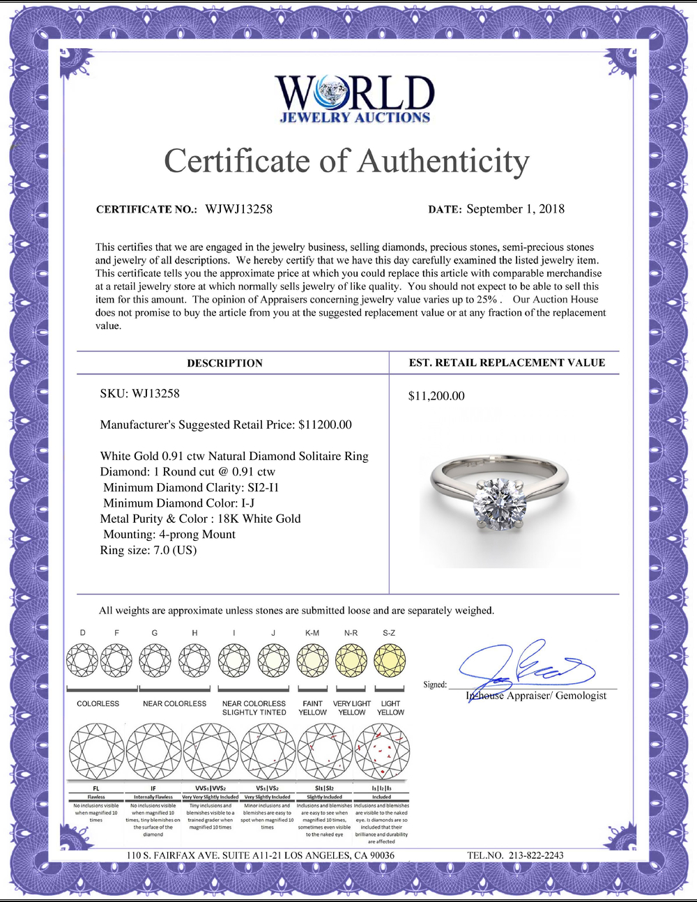 Lot 3138: 18K White Gold 0.91 ctw Natural Diamond Solitaire Ring - REF-263R2M-WJ13258