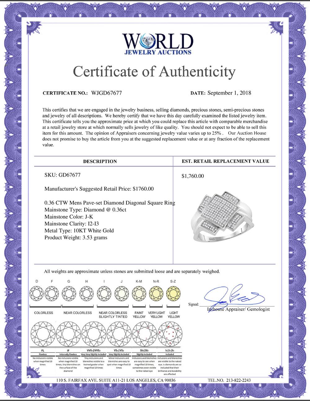 Lot 3142: 0.36 CTW Mens Pave-set Diamond Diagonal Square Cluster Ring 10KT White Gold - REF-44H9M
