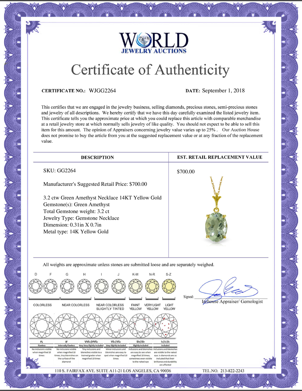 Lot 3144: Genuine 3.2 ctw Green Amethyst Necklace Jewelry 14KT Yellow Gold - REF-20W4Y