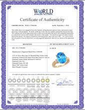 Lot 3151: Natural 5.53 ctw Swiss-blue-topaz & Diamond Engagement Ring 10K Yellow Gold - REF-44R6Z