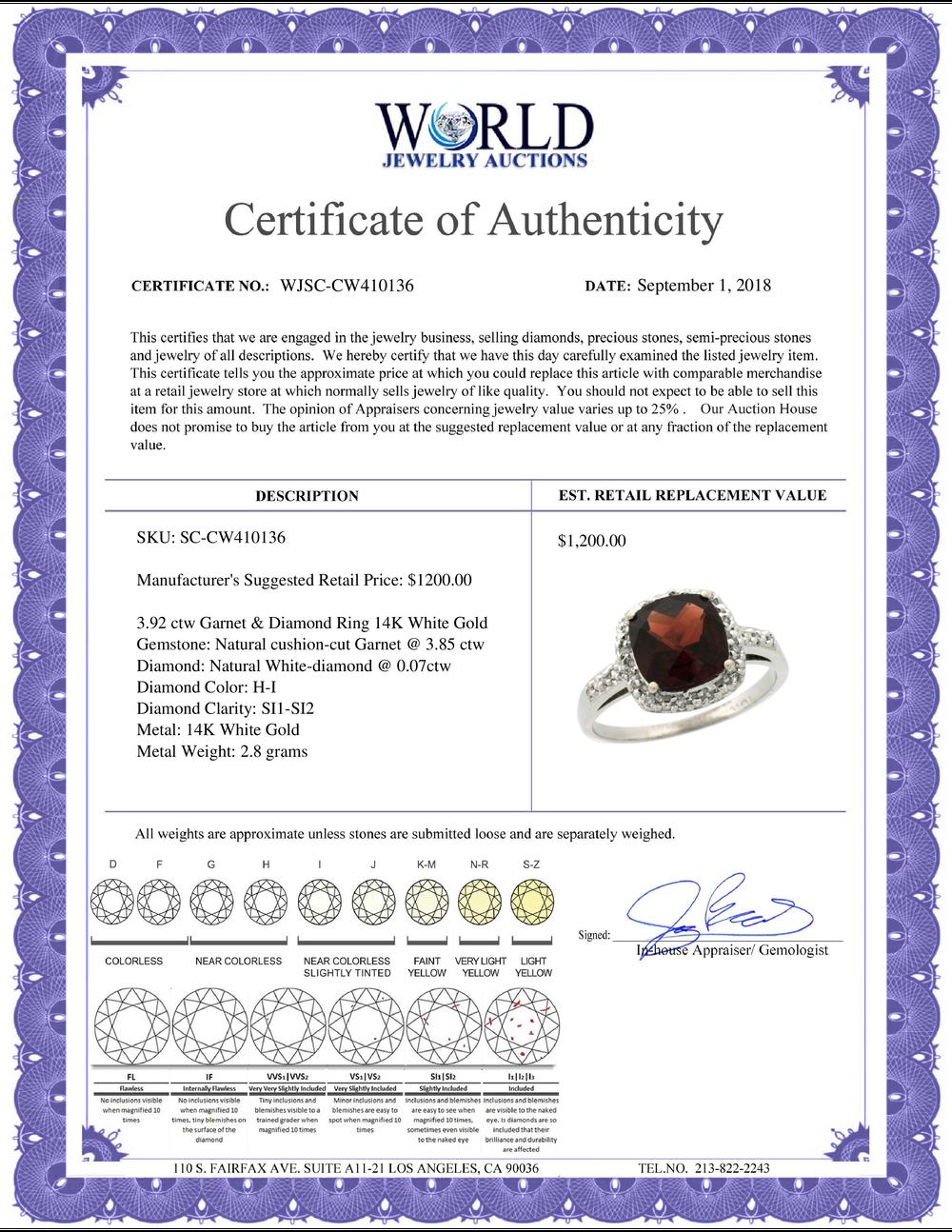 Lot 3170: Natural 3.92 ctw Garnet & Diamond Engagement Ring 14K White Gold - REF-36R7Z