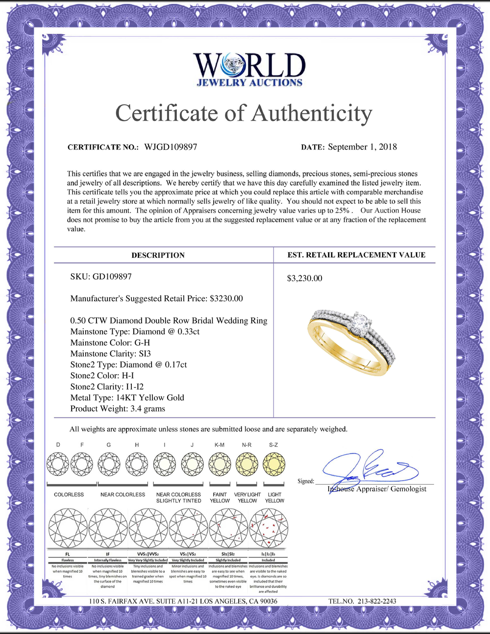 Lot 3175: 0.50 CTW Diamond Double Row Bridal Wedding Engagement Ring 14KT Yellow Gold - REF-82X4Y