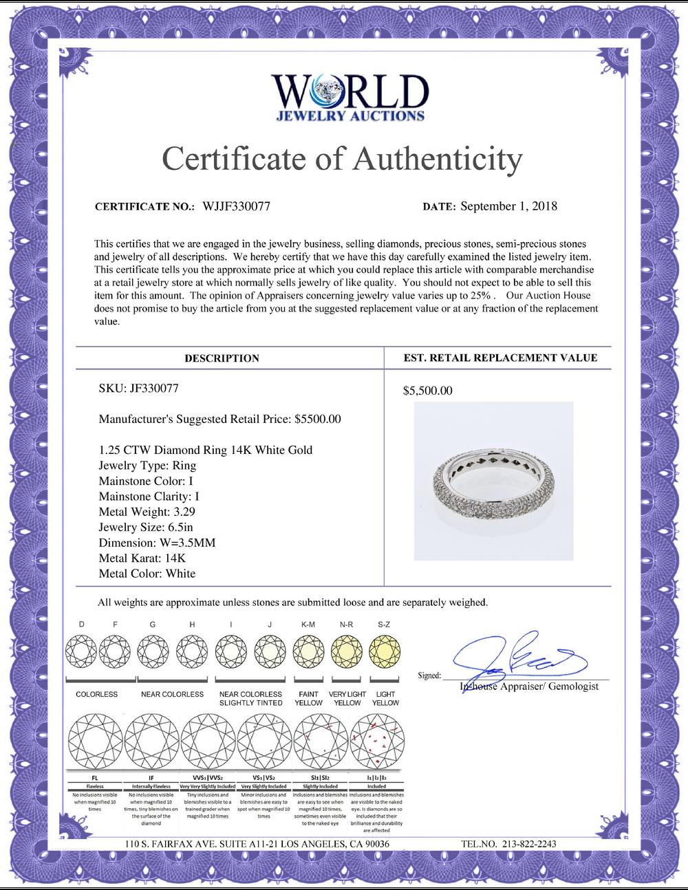 Lot 3184: Natural 1.25 CTW Diamond Ring 14K White Gold - REF-70X2R