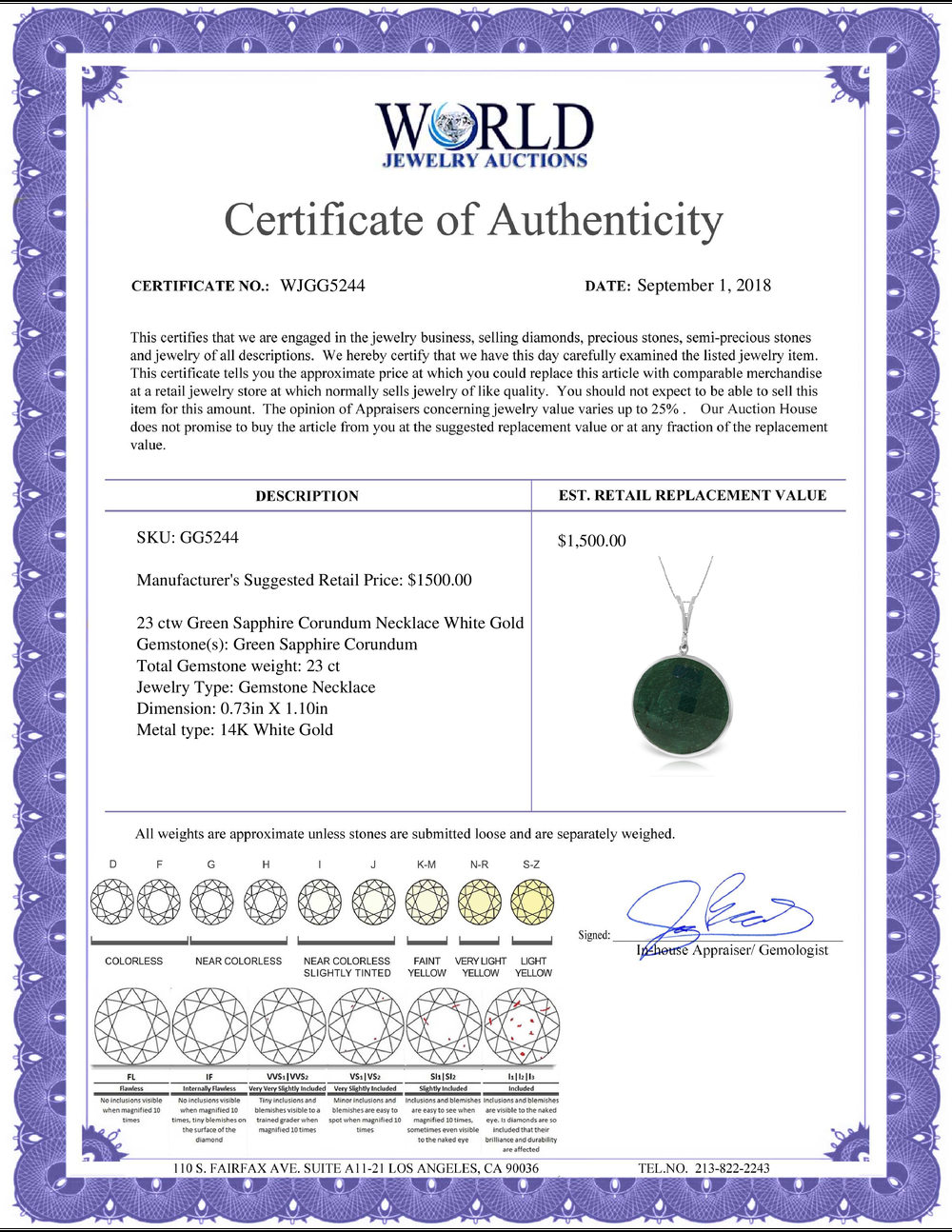 Lot 3187: Genuine 23 ctw Green Sapphire Corundum Necklace Jewelry 14KT White Gold - REF-48K3V