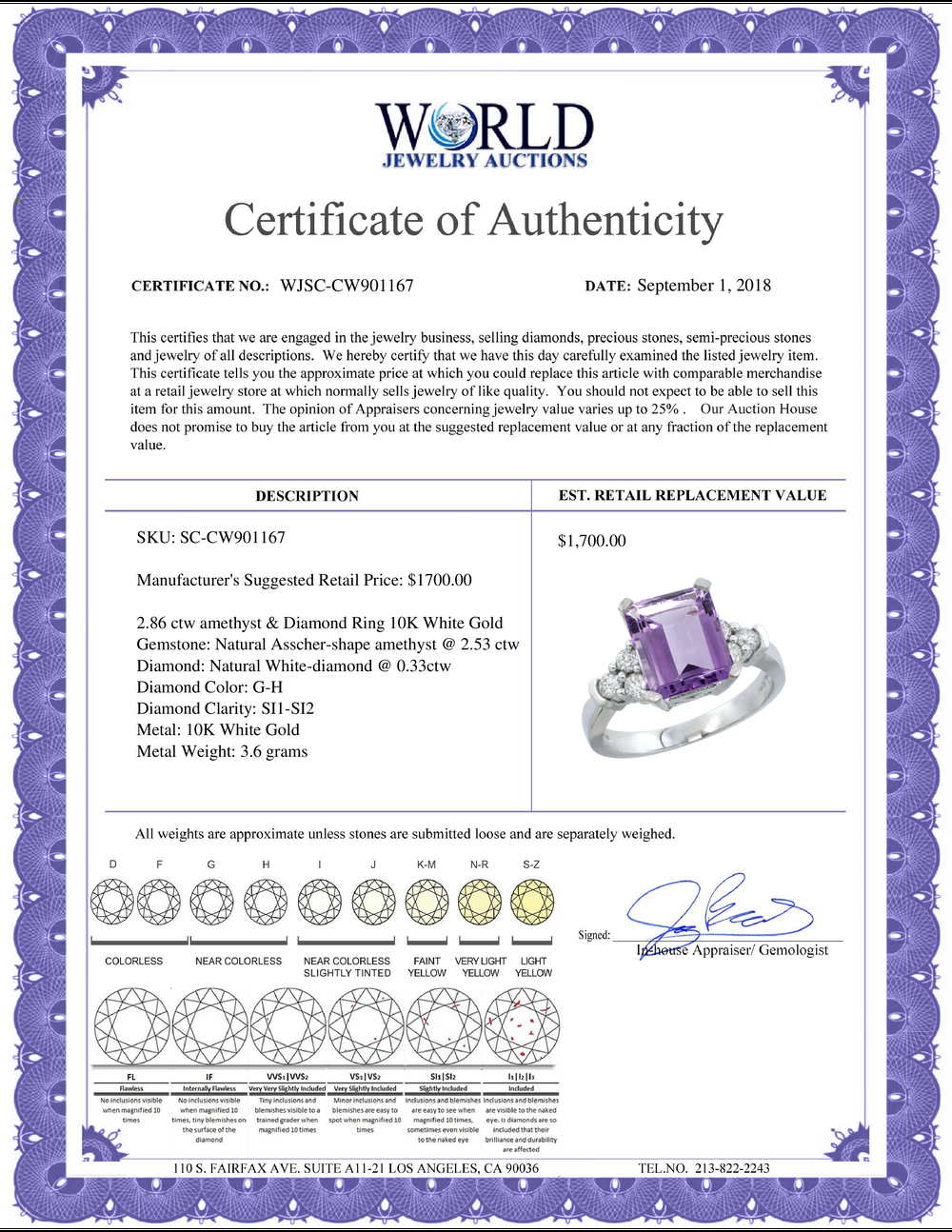 Lot 3199: Natural 2.86 ctw amethyst & Diamond Engagement Ring 10K White Gold - REF-53F5N