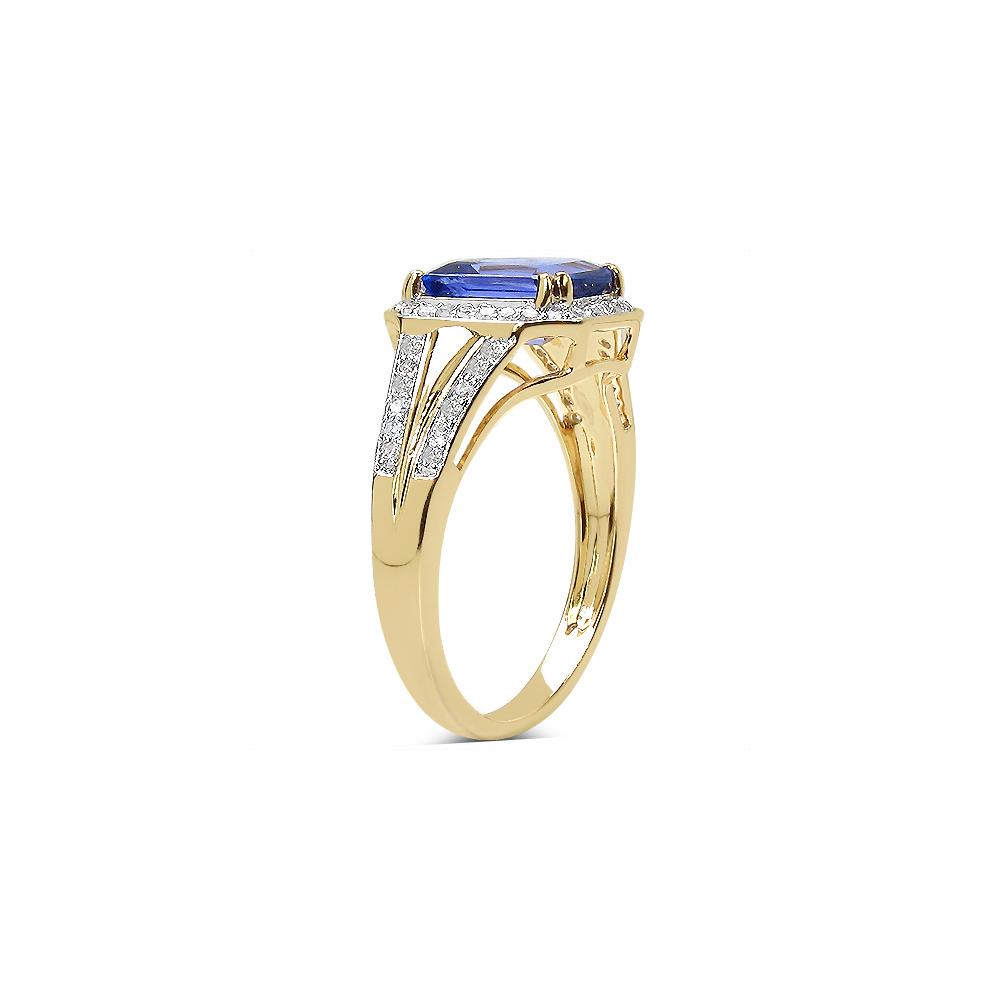 Lot 3039: 2.41 CTW Tanzanite & 0.29 CTW Diamond Ring 14K Yellow Gold - REF-131M2A