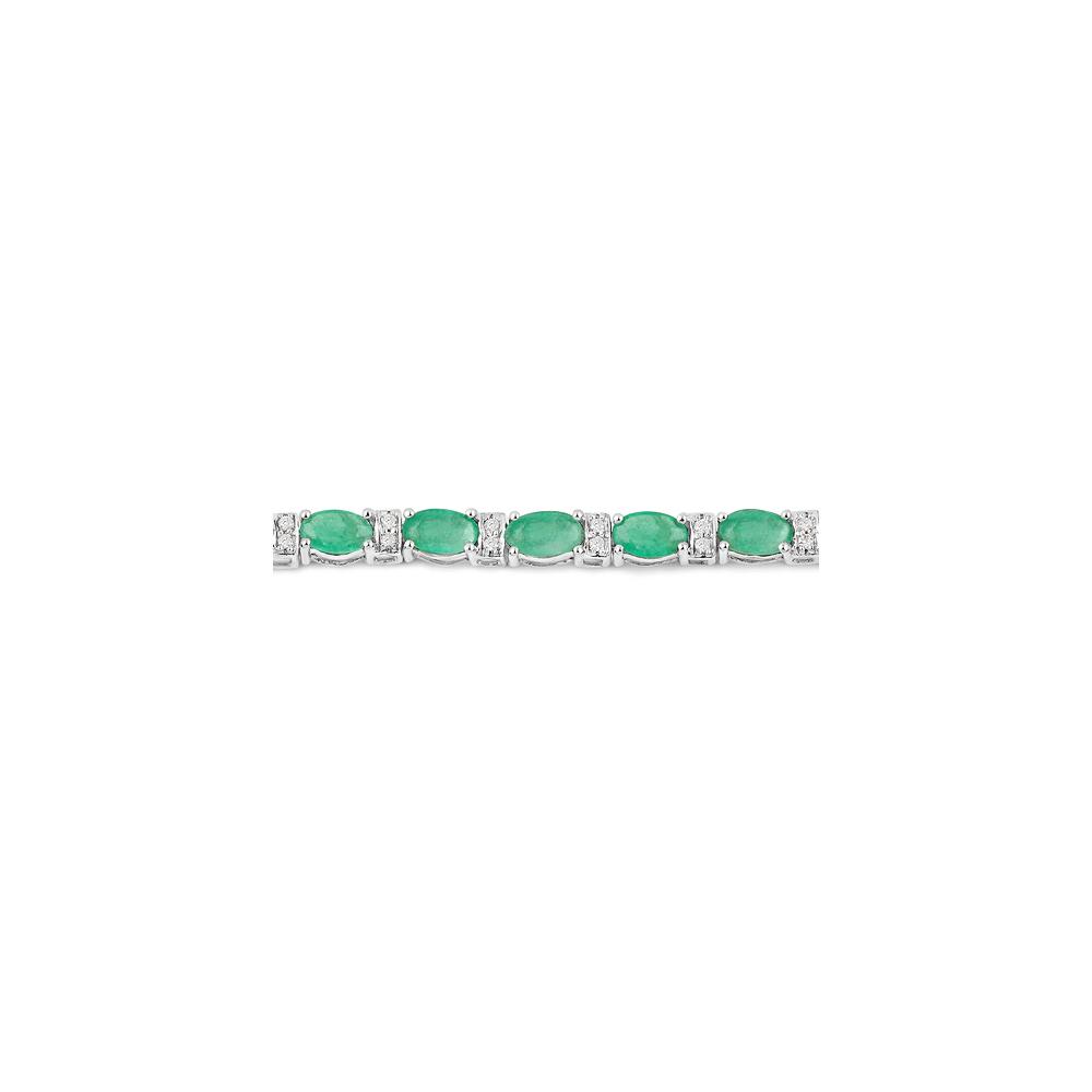 Lot 3068: 5.21 CTW Zambian Emerald & Diamond Bracelet 14K White Gold - REF-130N2U