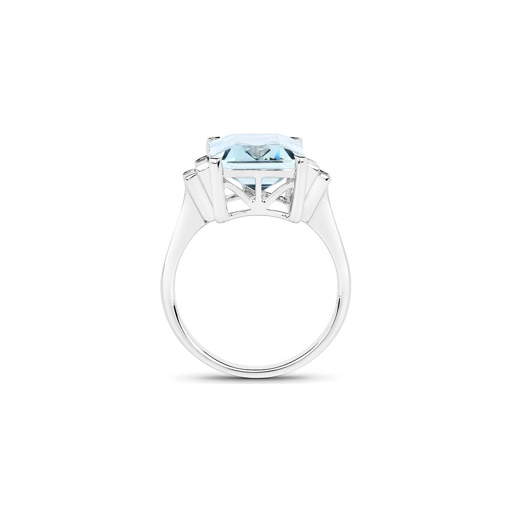 Lot 3053: 4.33 CTW Aquamarine & Diamond Ring 14K White Gold - REF-145A4V