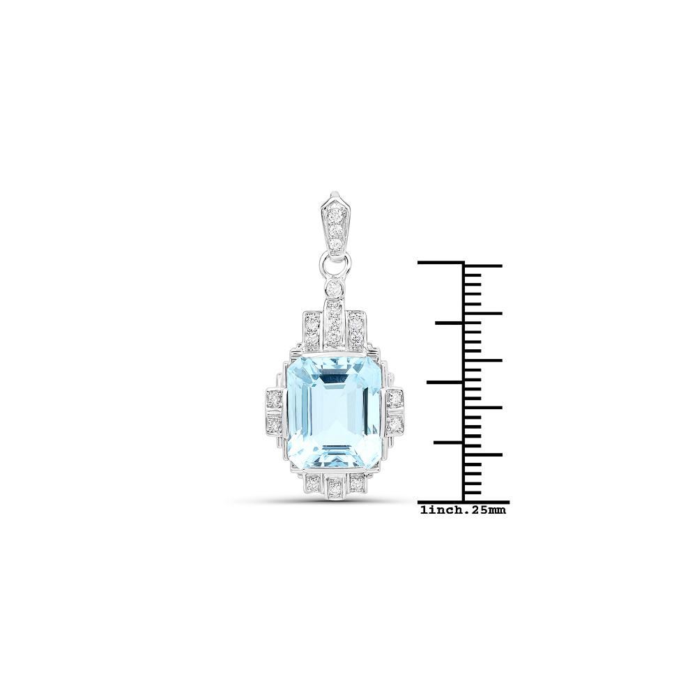 Lot 3075: 6.61 CTW Aquamarine & Diamond Pendant 14K White Gold - REF-189N4U