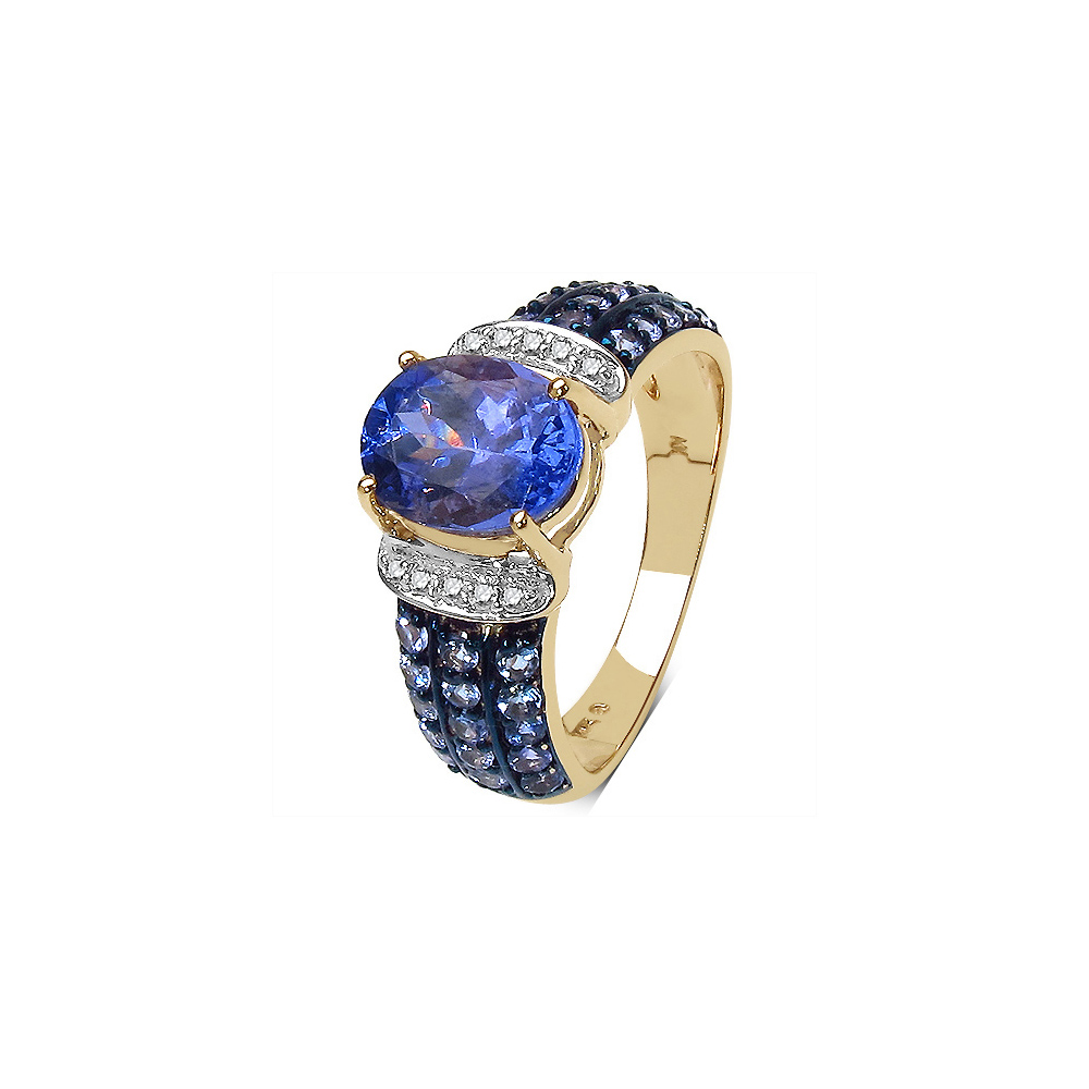 Lot 3090: 2.44 CTW Tanzanite & 0.06 CTW Diamond Ring 10K Yellow Gold - REF-77K6W