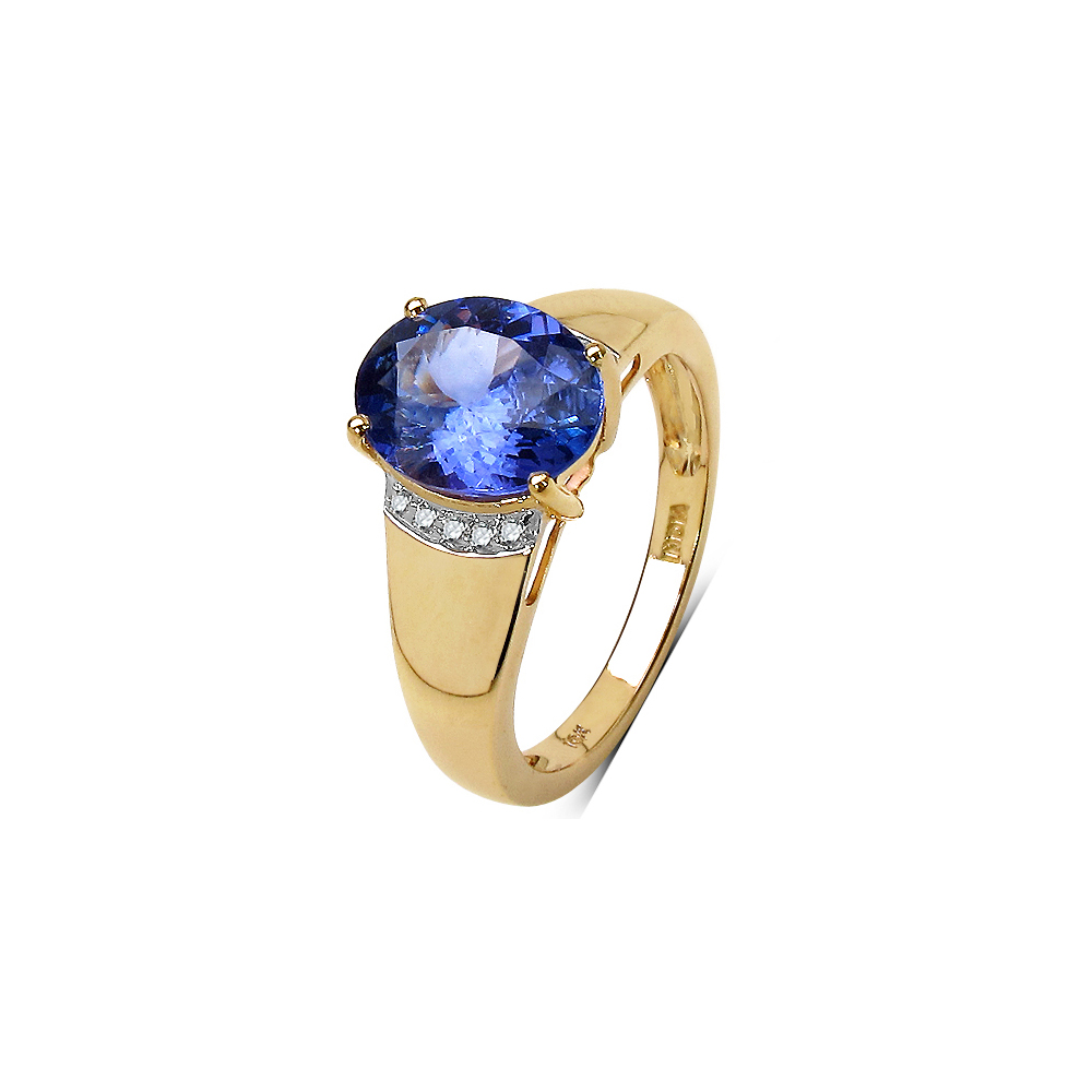 Lot 3157: 2.54 CTW Tanzanite & 0.06 CTW Diamond Ring 10K Yellow Gold - REF-108U2X
