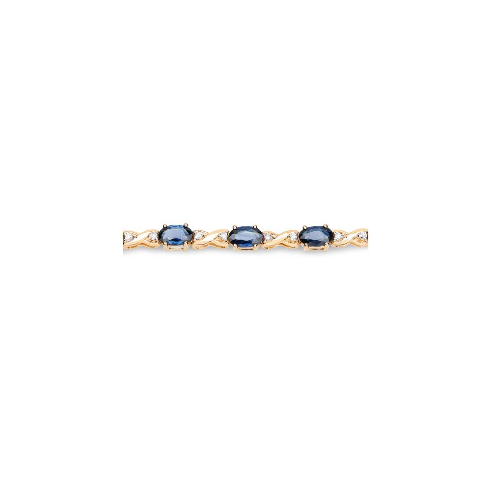 Lot 3164: 5.31 CTW Blue Sapphire & Diamond Bracelet 14K Yellow Gold - REF-119M4A
