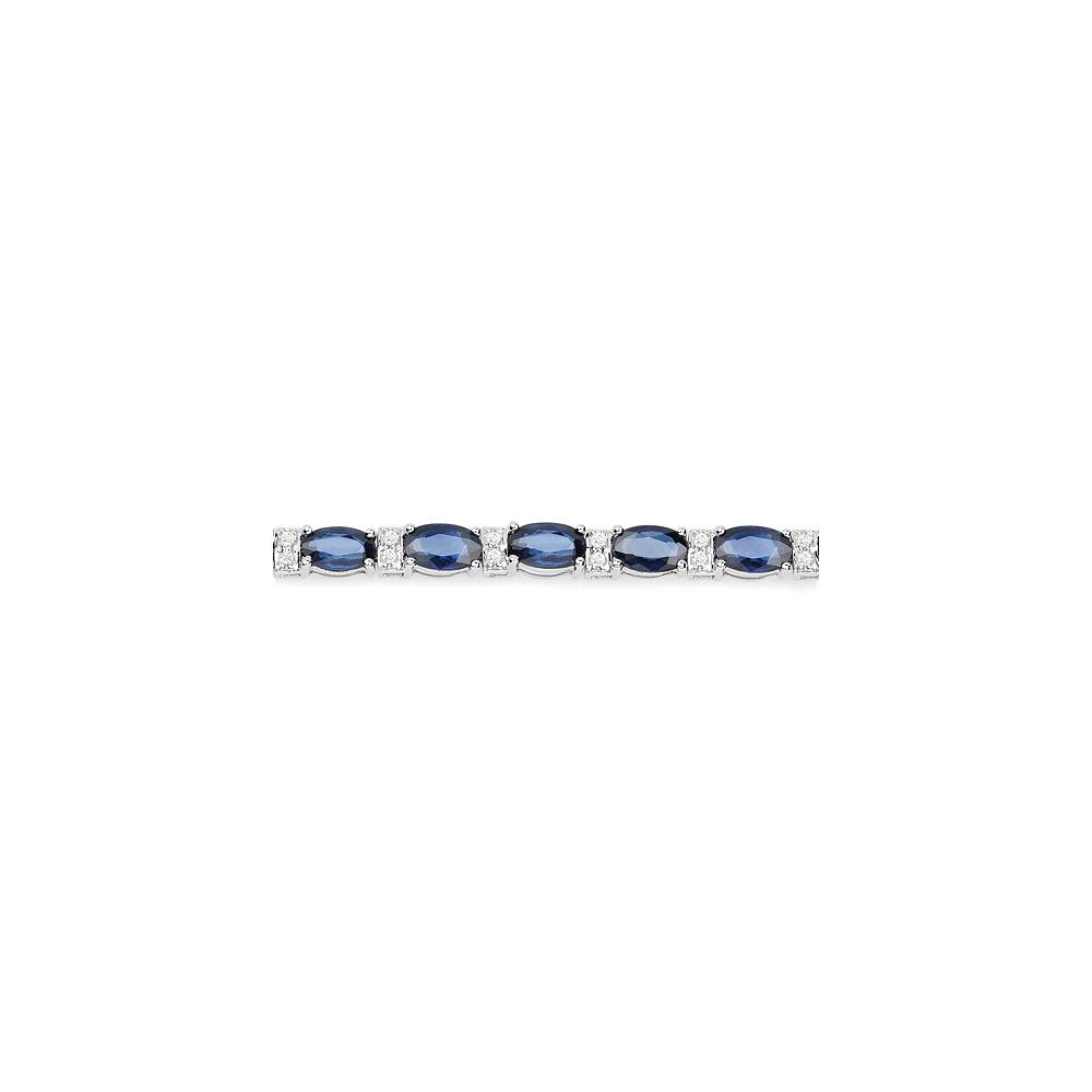 Lot 3179: 7.76 CTW Blue Sapphire & Diamond Bracelet 14K White Gold - REF-129Y8K
