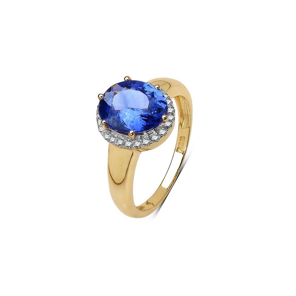 Lot 3194: 2.55 CTW Tanzanite & 0.15 CTW Diamond Ring 14K Yellow Gold - REF-118X2R