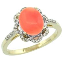Natural 2.09 ctw Coral & Diamond Engagement Ring 14K Yellow Gold - SC#CY445105 - REF#32F3V